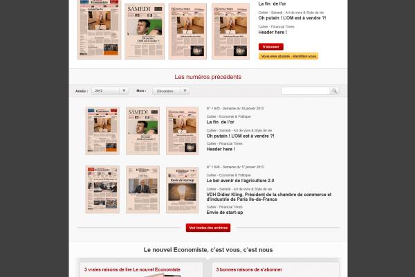 Le nouvel Economiste - Site internet des archives du journal
