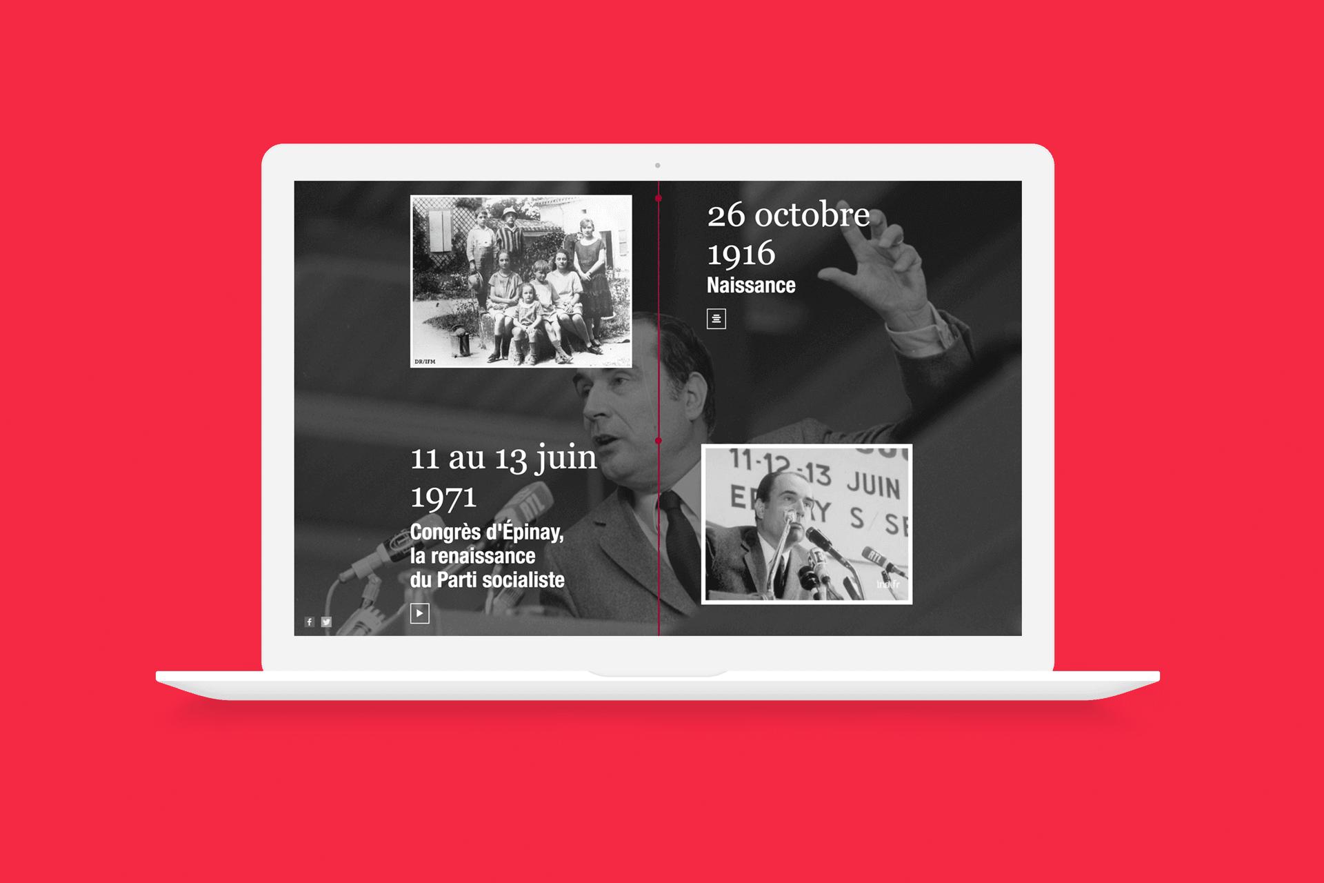 Timeline sur les 100 ans de la mort de François Mitterrand - Mise en situation du site