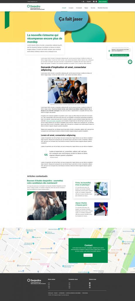 CRM pour Desjardins - Page d'un article