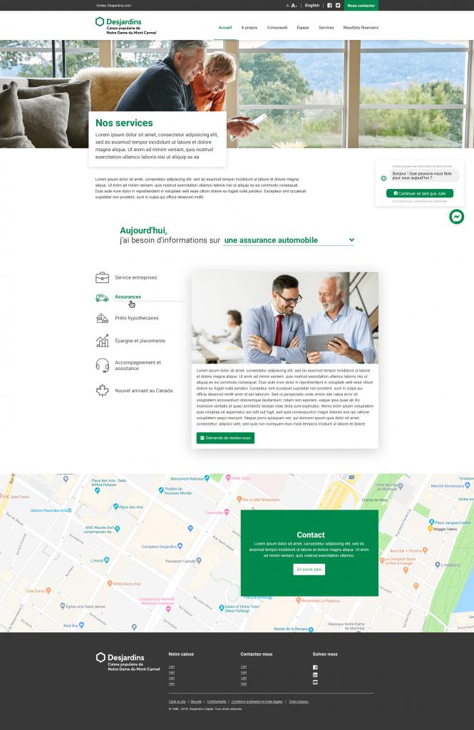 CRM pour Desjardins - Page produits